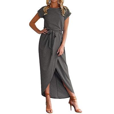 Qearal Belted Wrap T-Shirt Midi Dress