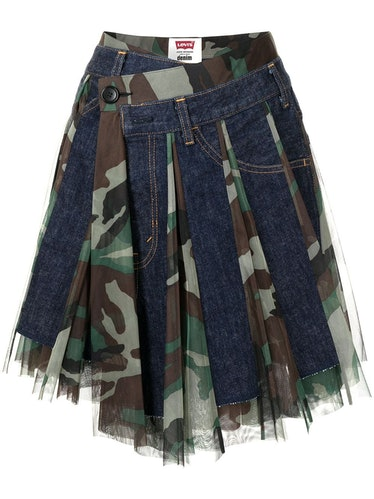 Asymmetric camo midi skirt from Junya Watanabe, available to shop via Farfetch.