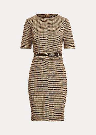 Ralph Lauren's houndstooth double-knit jacquard dress.