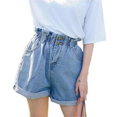 Plaid&Plain High Waisted Denim Shorts