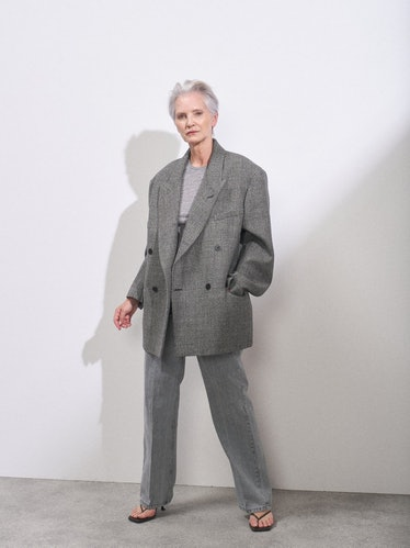 Exaggerated-Shoulder Wool-Blend Suit Jacket