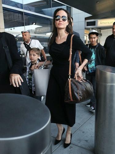 Actress Angelina Jolie, with her sons Knox Jolie-Pitt and Maddox Jolie-Pitt