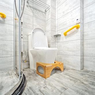 FLPLX Bamboo Squatting Toilet Stool