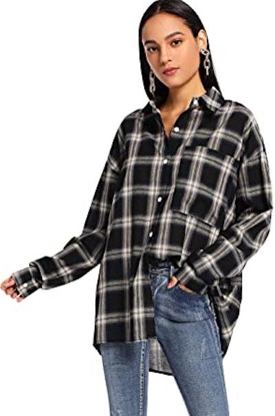 SweatyRocks Long Sleeve Flannel Top