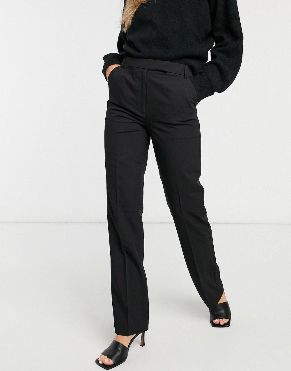 tailored straight leg pants in black