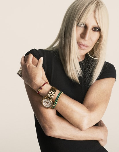 Donatella Versace wears her own clothing  and jewelry. Retouching: Dreamer Post.