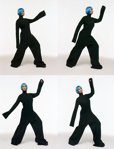 Iman wears a Marc Jacobs jumpsuit and shoes.