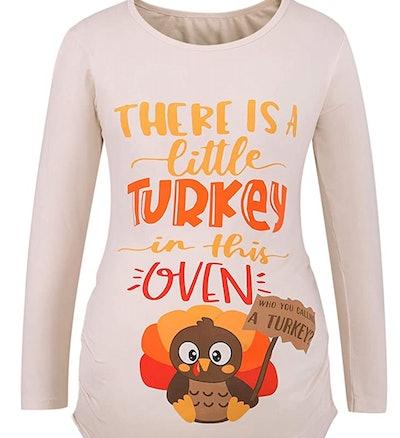 Thanksgiving Maternity Shirt Mommy Turkey