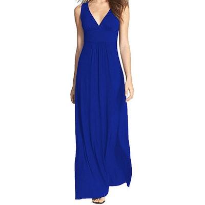 WOOSEA Sleeveless V-Neck Casual Maxi Dress