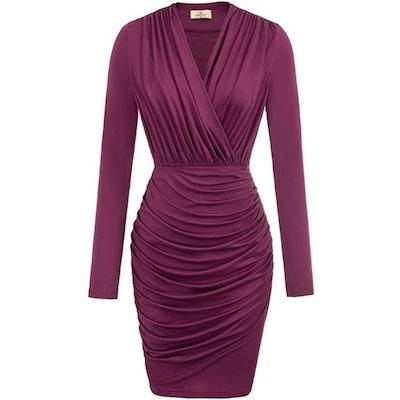 GRACE KARIN Long Sleeve Ruched Pencil Dress
