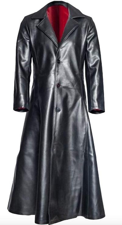 Mens Retro Leather Vintage Long Coat