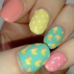 Manicure featuring rubber duckies