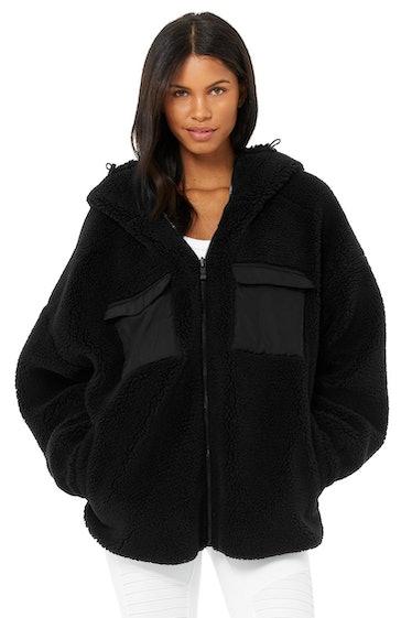 Black Cargo sherpa jacket from Alo Yoga.