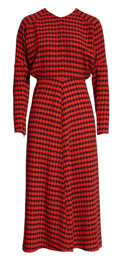 Victoria Beckham's houndstooth crepe long sleeve midi dress.