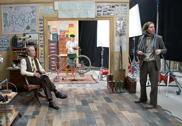 Bill Murray, Owen Wilson, and Wes Anderson on set of The French Dispatch.