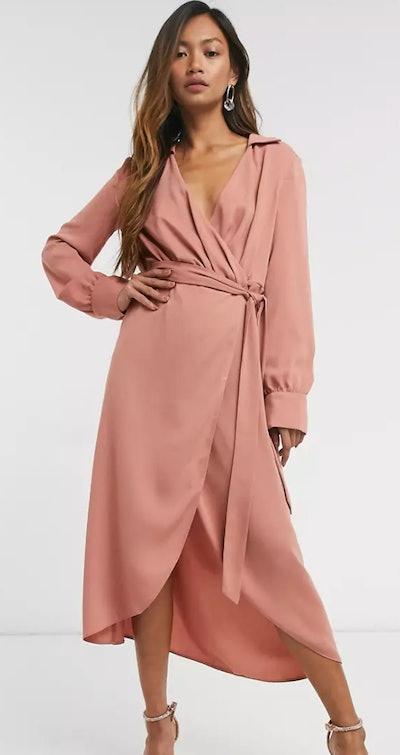 ASOS DESIGN collared wrap midi dress
