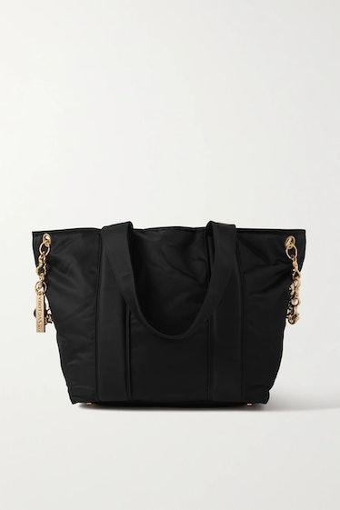 AZ Factory's black hugging embellished shell tote bag.