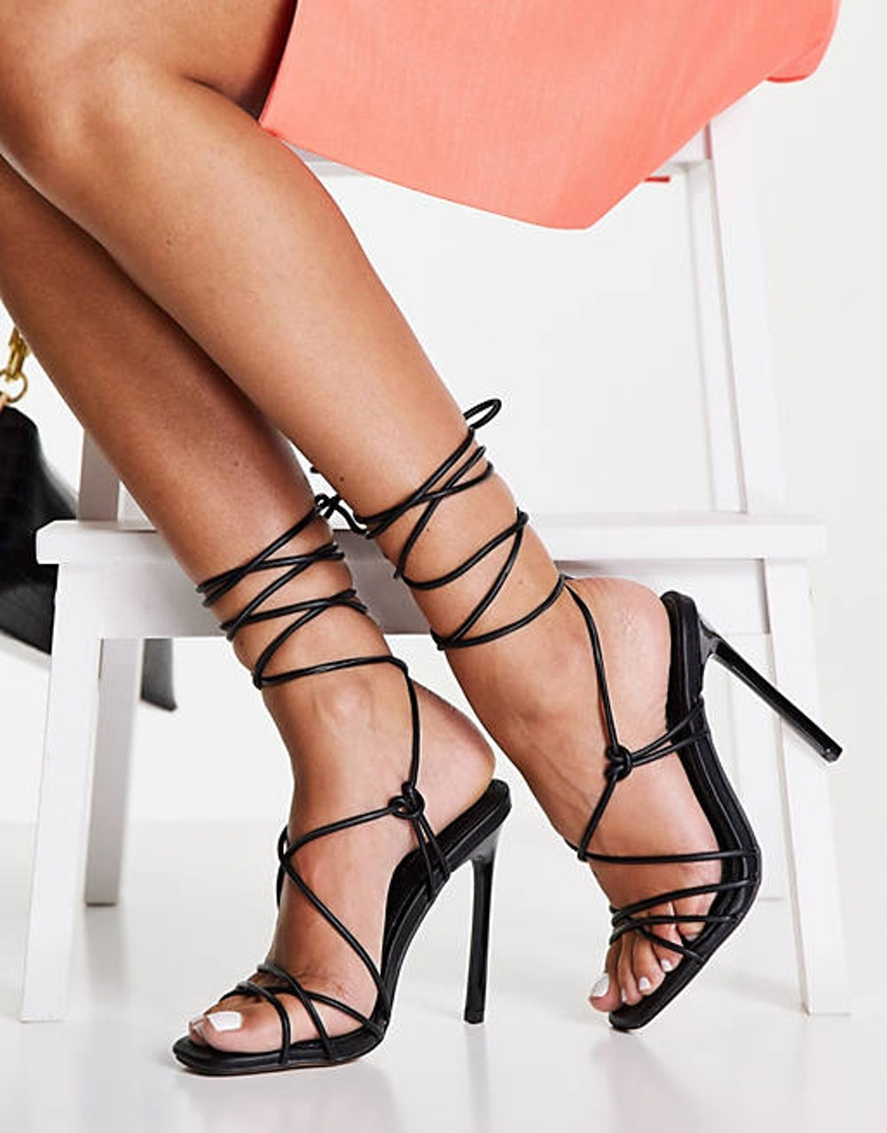 Topshop Robin Strappy High Heeled Sandals in Black