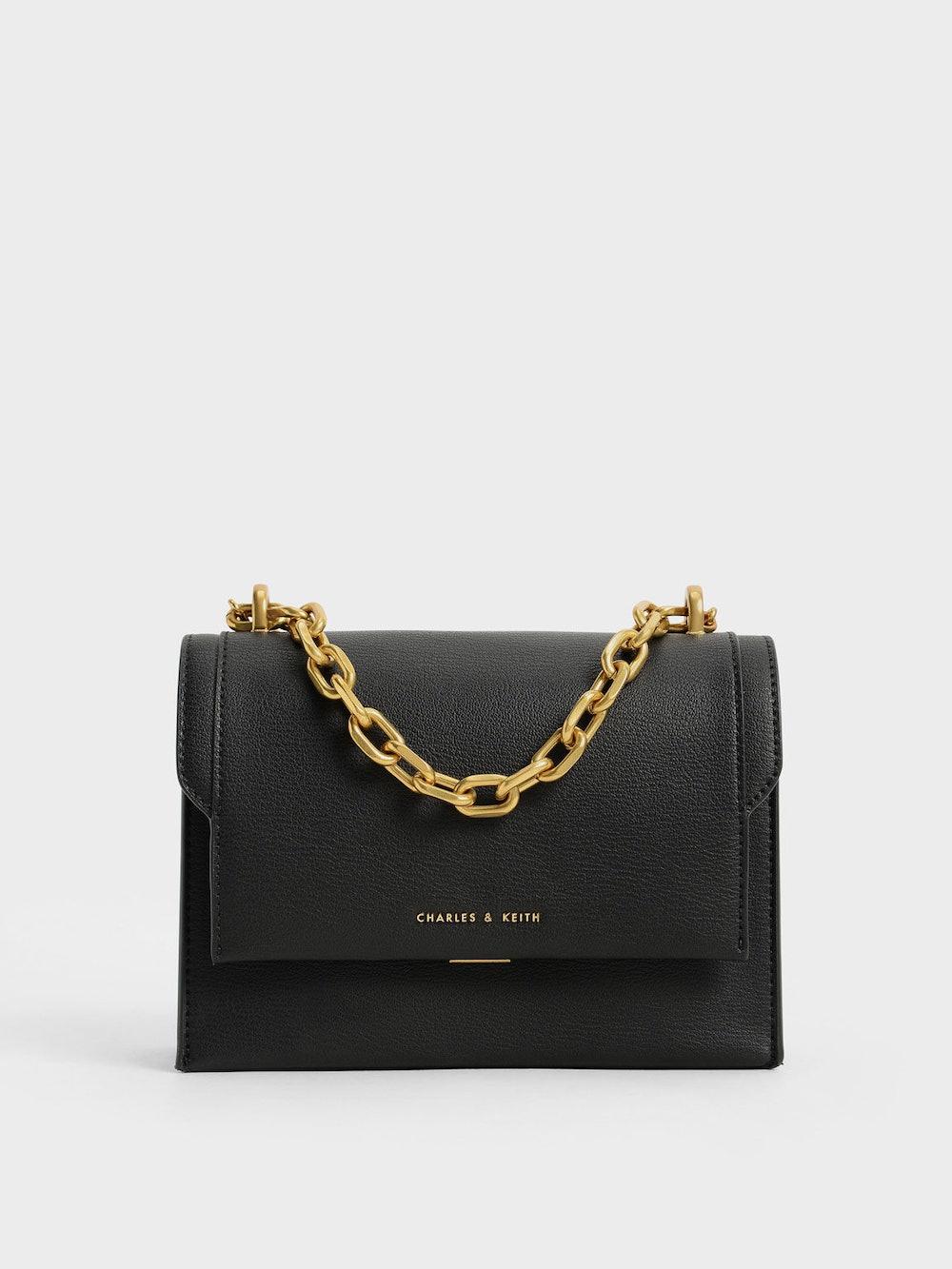 Front Flap Chain Handle Crossbody Bag