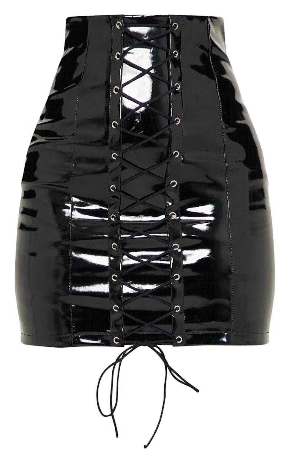Black Vinyl Lace Up Mini Skirt