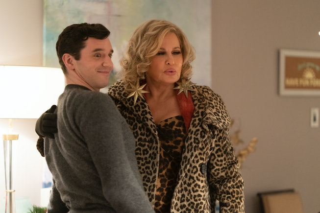 Michael Urie as Peter, Jennifer Coolidge as Aunt Sandy, in Single All The Way
