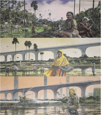 The top image is a busy agrarian village scene of rice planting, livestock use, and social life. The...
