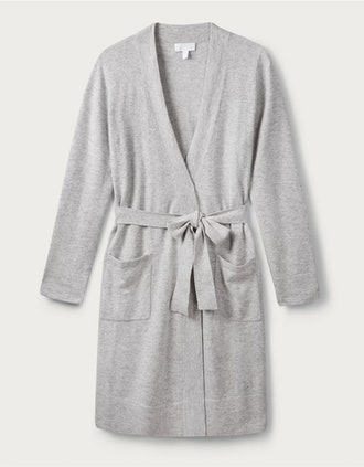 Pale Gray Marl Cashmere Short Robe from The White Company.