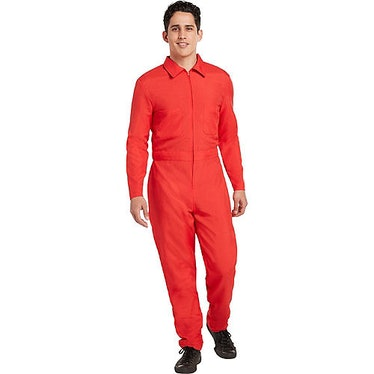 The 'Squid Game' guards wear red jumpsuits.
