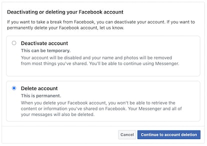 A screenshot of instructions how to delete your facebook account.