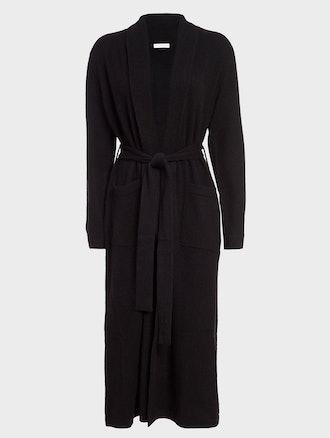 Black long cashmere robe from White + Warren.