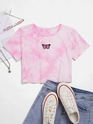 Ribbed Tie Dye Butterfly Embroidery Short Sleeve Crop Tee
