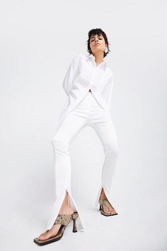 Satin Slit Leggings - Optic White