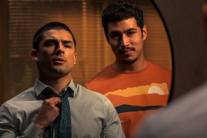 "DIEGO TINOCO as CESAR DIAZ and JULIO MACIAS as OSCAR ""SPOOKY"" DIAZ in the final season of ON MY BLOC..."