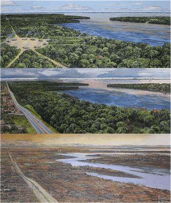 The top image shows a traditional pre-contact Indigenous village (1500 CE) with access to the river ...