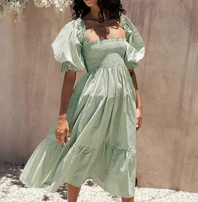 R. Vivimos Off Shoulder Midi Dress