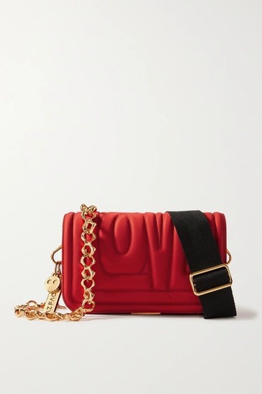 AZ Factory's the hugging with love mini quilted nylon shoulder bag in red.