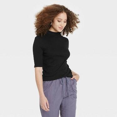 Women's Elbow Sleeve Mock Turtleneck T- Shirt - A New Day™
