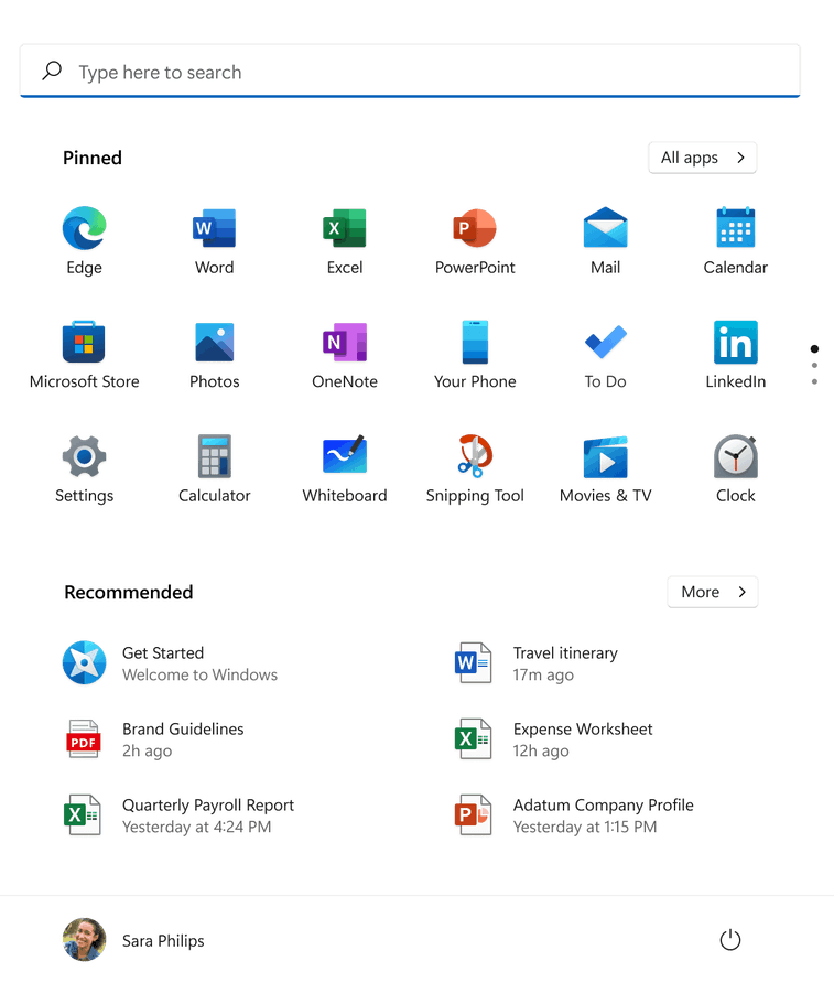 Windows 11 start menu showing a collection of apps and documents.