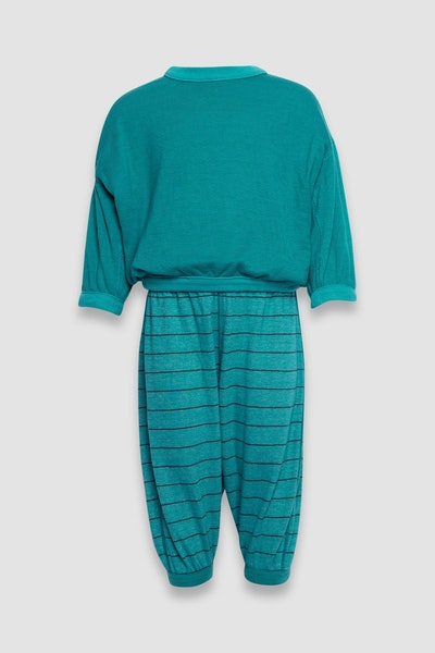 reversible jogger and pullover set for kids in green and green stripes, from Senna Case