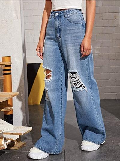 SweatyRocks Distressed Wide-Leg Jeans