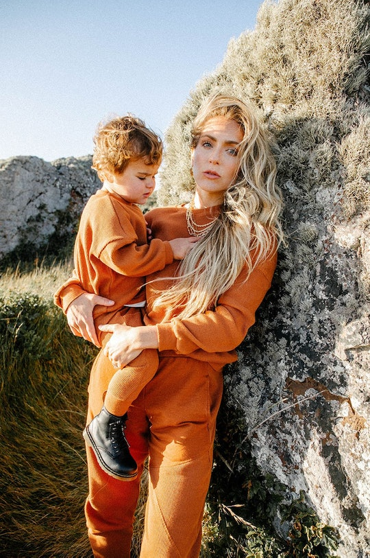 woman and toddler wearing matching clothes from senna case