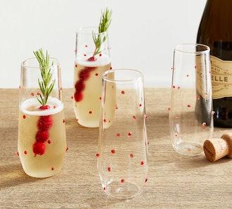 Monique Lhuillier Festive Dot Stemless Champagne Flutes - Set of 4