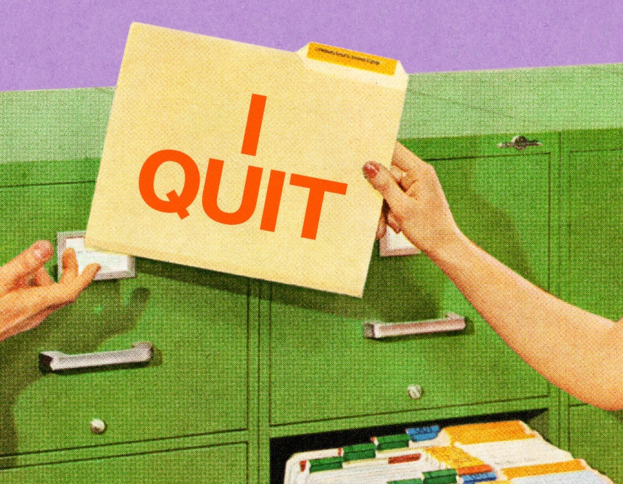 """A folder labeled """"I Quit."""" During the great resignation, millions of americans quit their jobs. Here..."""