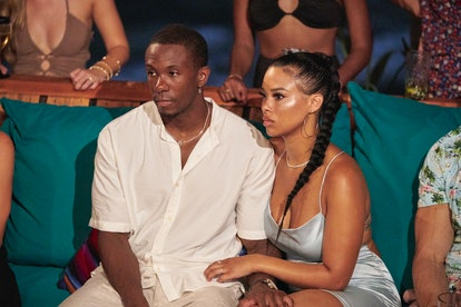 Maurissa Gunn and Riley Christian seated together at a rose ceremony on 'Bachelor In Paradise' Seaso...