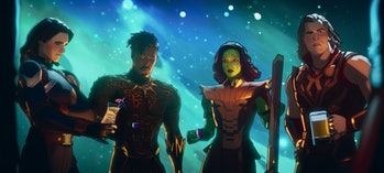 Guardians of the Multiverse drinking together in What If? Episode 9.