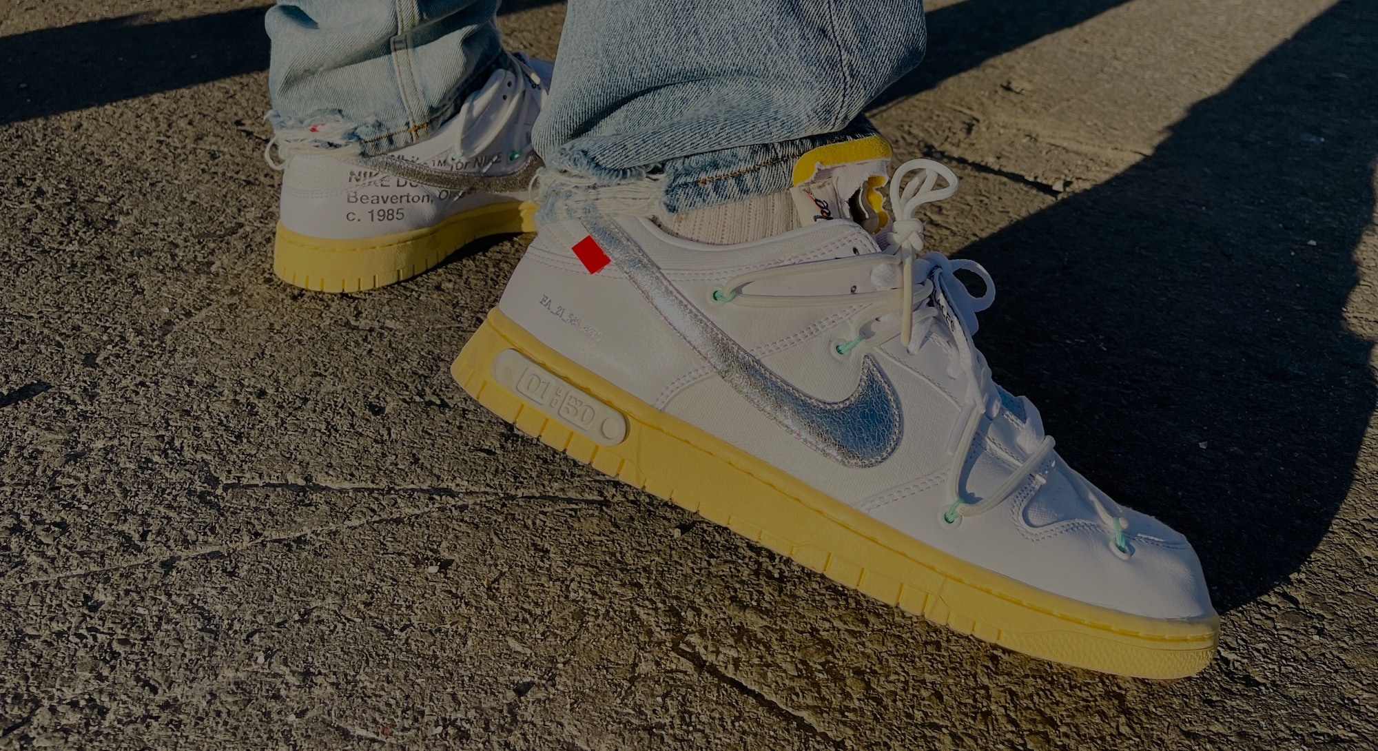 Nike Off-White Dunk Low Lot 1 The 50 sneakers shoes review on-feet