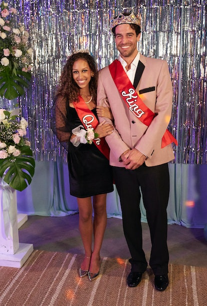 Serena Pitt and Joe Amabile posing as prom king and prom queen on 'Bachelor In Paradise' Season 7