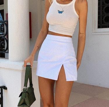 White leather mini skirt with slit