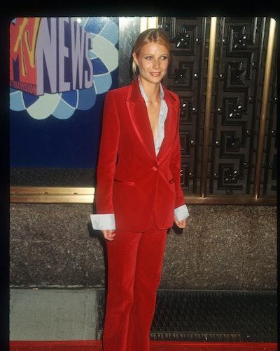 Gwyneth Paltrow wears a Gucci suit by Tom Ford.