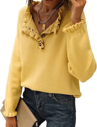 BTFBM Ruffle Knit Pullover Sweater